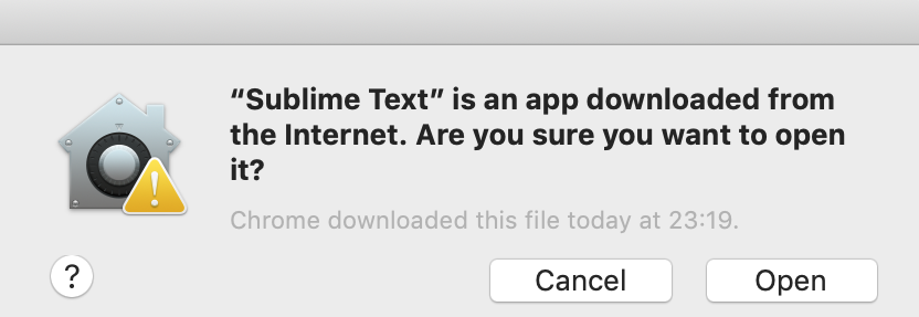 Prompt gotten after downloading and launching sublime text for the first time on macOS - Sikademy