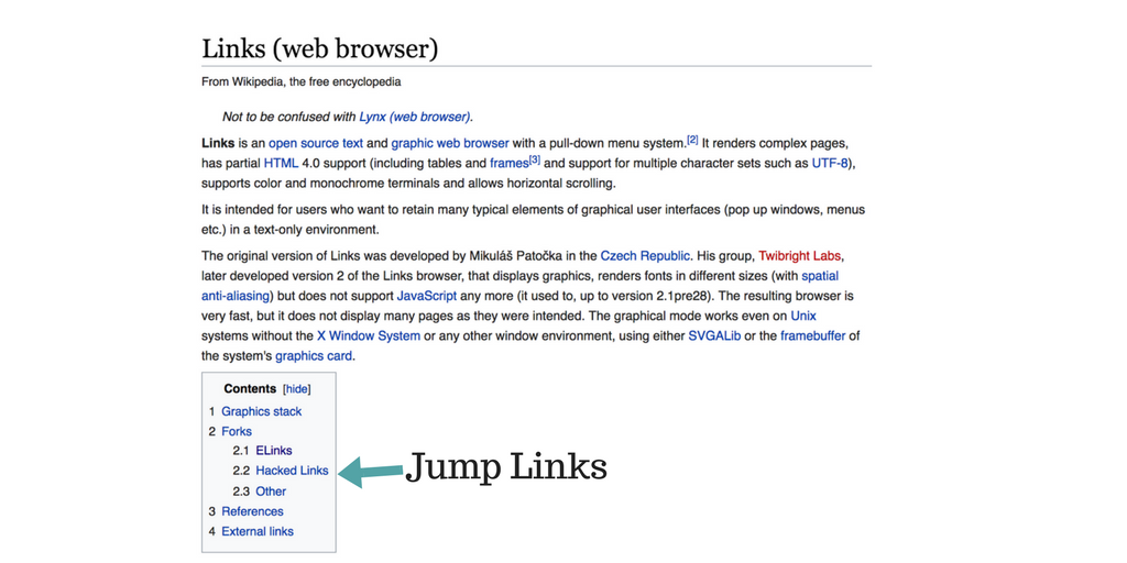 Example of html jump links on wikipedia - Sikademy